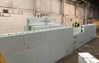 Stacks of an line of ICF wall -Insulated Concrete Form wall