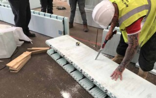 Cutting ICF building blocks -Insulated Concrete Form with a knife