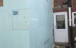 view to back door of A house extension project using ICF -Insulated Concrete Form wall